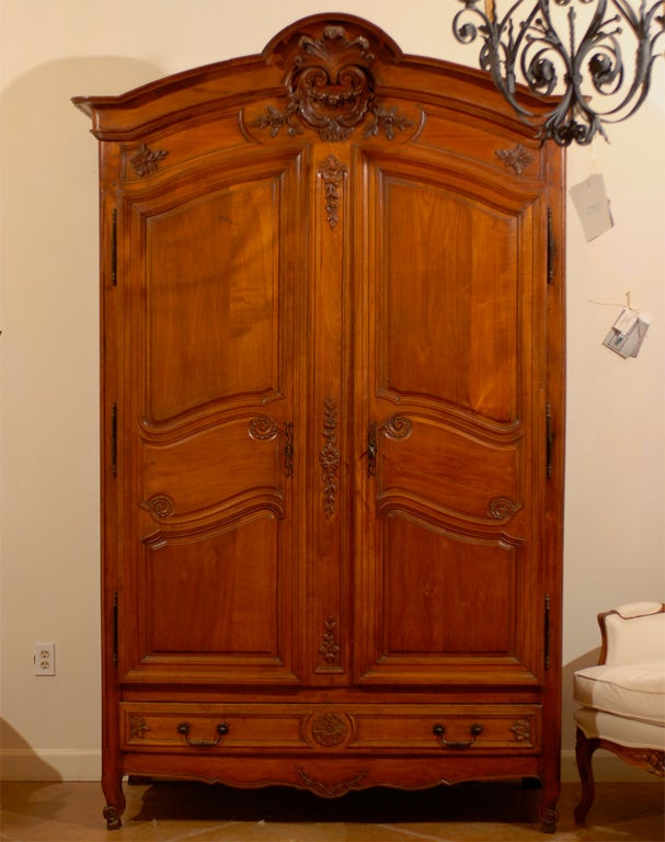 Th century french cherry wood armoire with drawers for