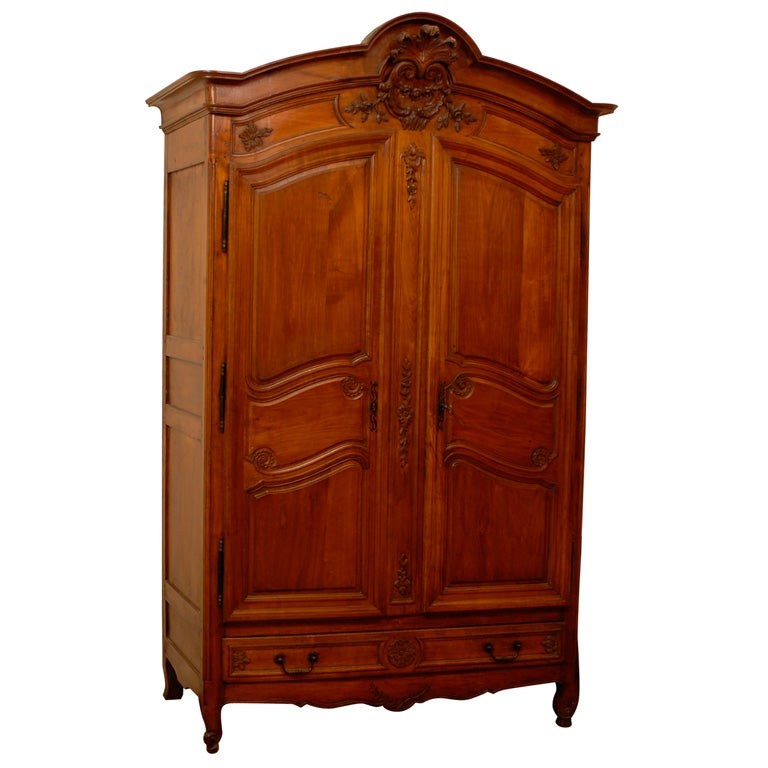 19th century french cherry wood armoire with 4 drawers for. Black Bedroom Furniture Sets. Home Design Ideas