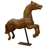 19th Century French  Wood Carousel Horse with Iron Stand