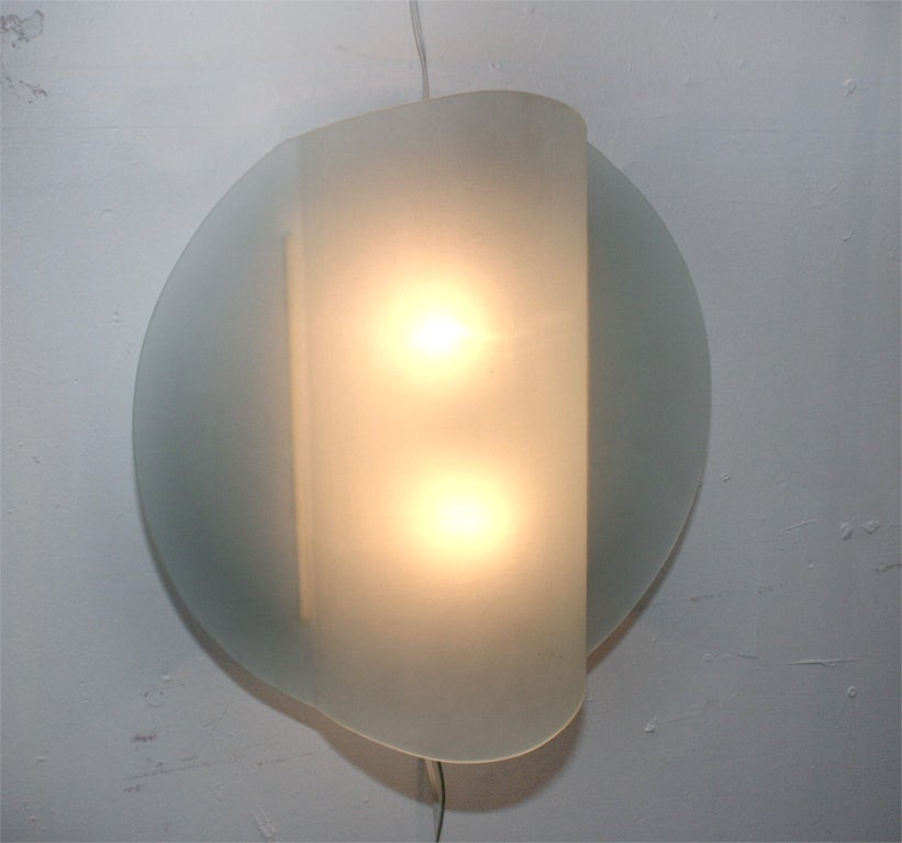Wall Sconce Frosted Glass : Pair of Frosted Glass Wall Sconces by Ron Rezek at 1stdibs
