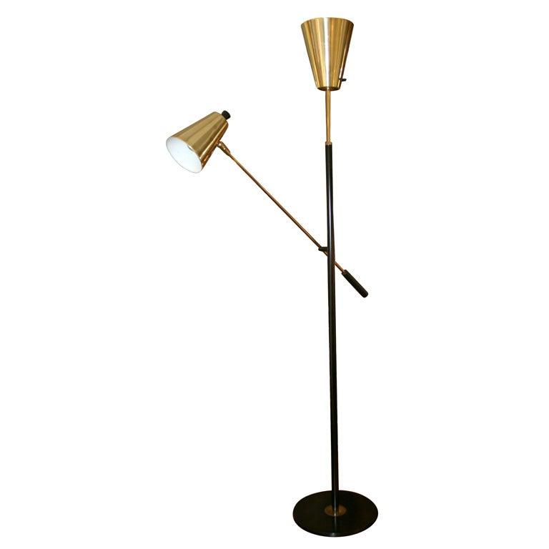 1960 39 s lightolier adjustable single arm floor lamp at 1stdibs. Black Bedroom Furniture Sets. Home Design Ideas