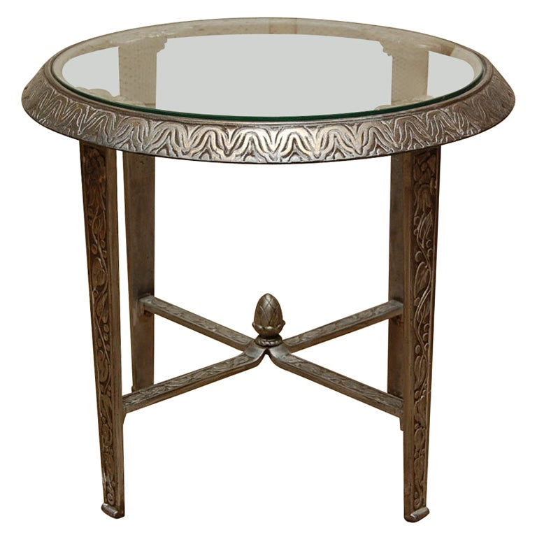 Silvered metal glass top deco occasional table at 1stdibs for Glass top occasional tables