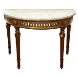 LOUIS XVI GILTWOOD DEMI LUNE CONSOLE TABLE