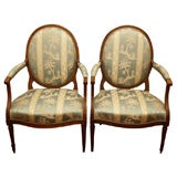 PAIR OF FRENCH OVAL BACK LOUIS XVI ARMCHAIRS