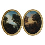 18th C Italian Oval Landscapes Of Day And Evening