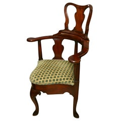 Fine and Rare Queen Ann Corner Barber Chair, 18th Century