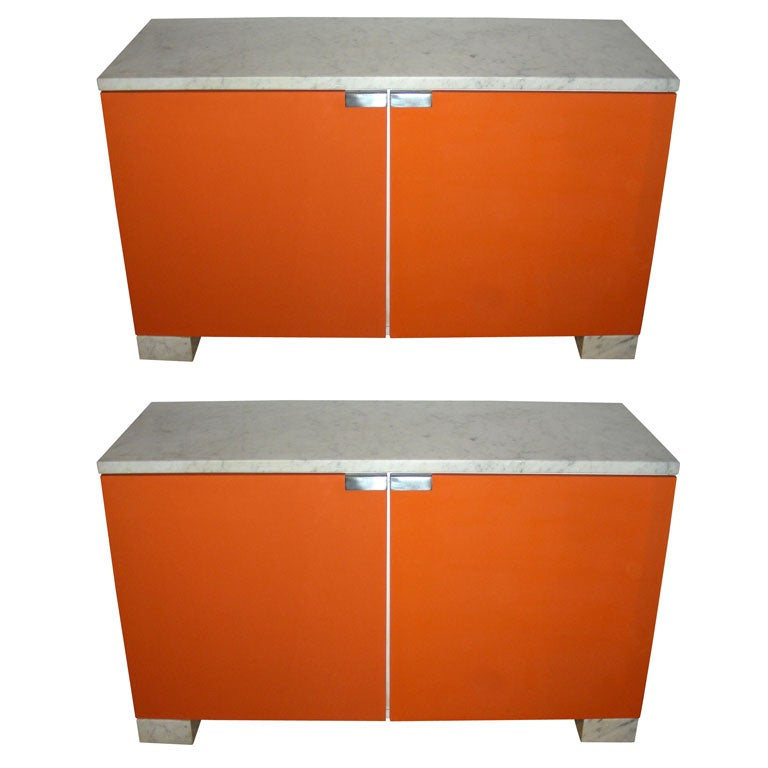 Two 1970s Orange Commodes with Marble Top at 1stdibs