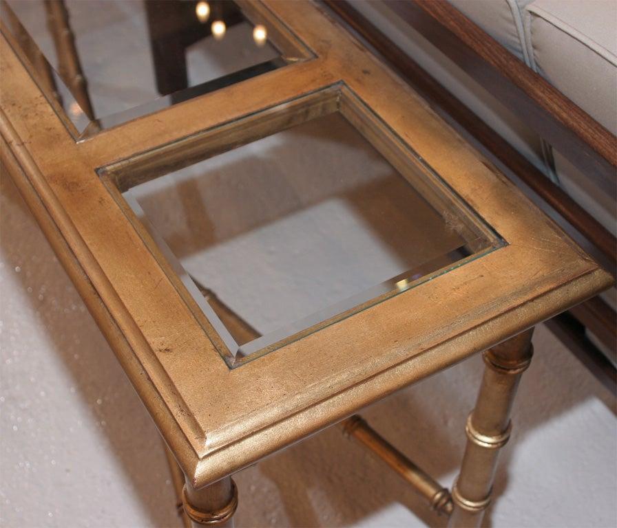 Faux Bamboo Gold Leaf Sofa Table Console 3