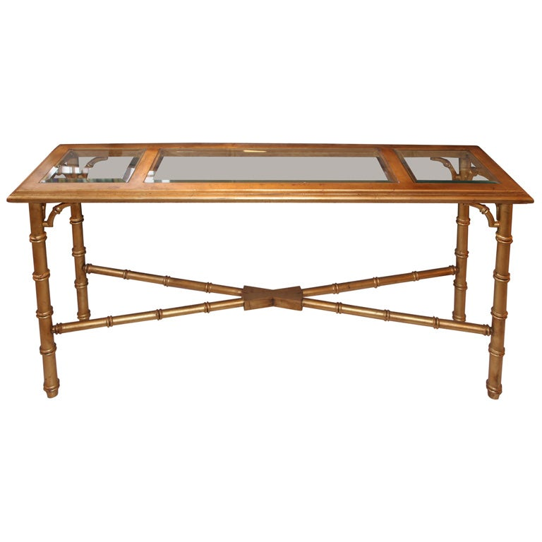 Faux Bamboo Gold Leaf Sofa Table Console At 1stdibs