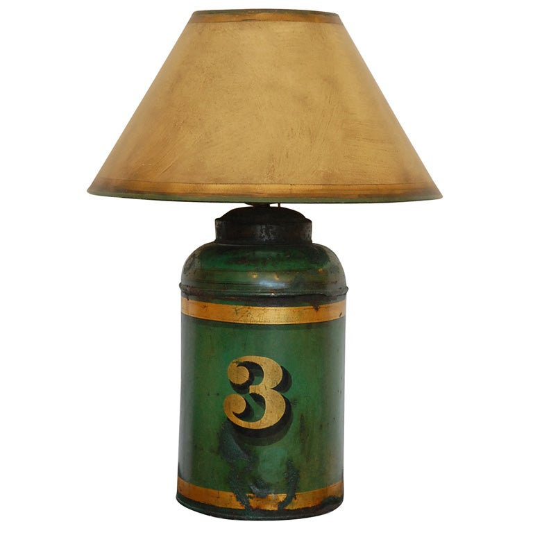 Green Lamp Painting : Th c green painted tea canister lamp at stdibs