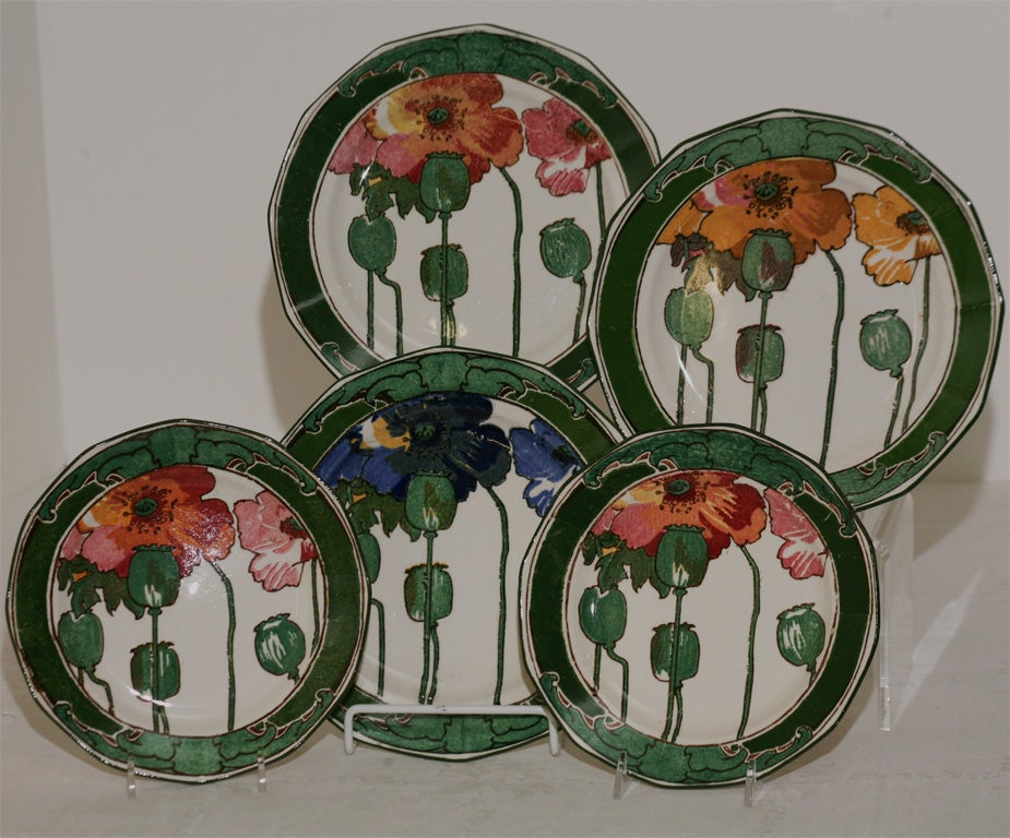 "Royal Doulton Collection of Arts and Crafts ""Poppy"" Plates 2"