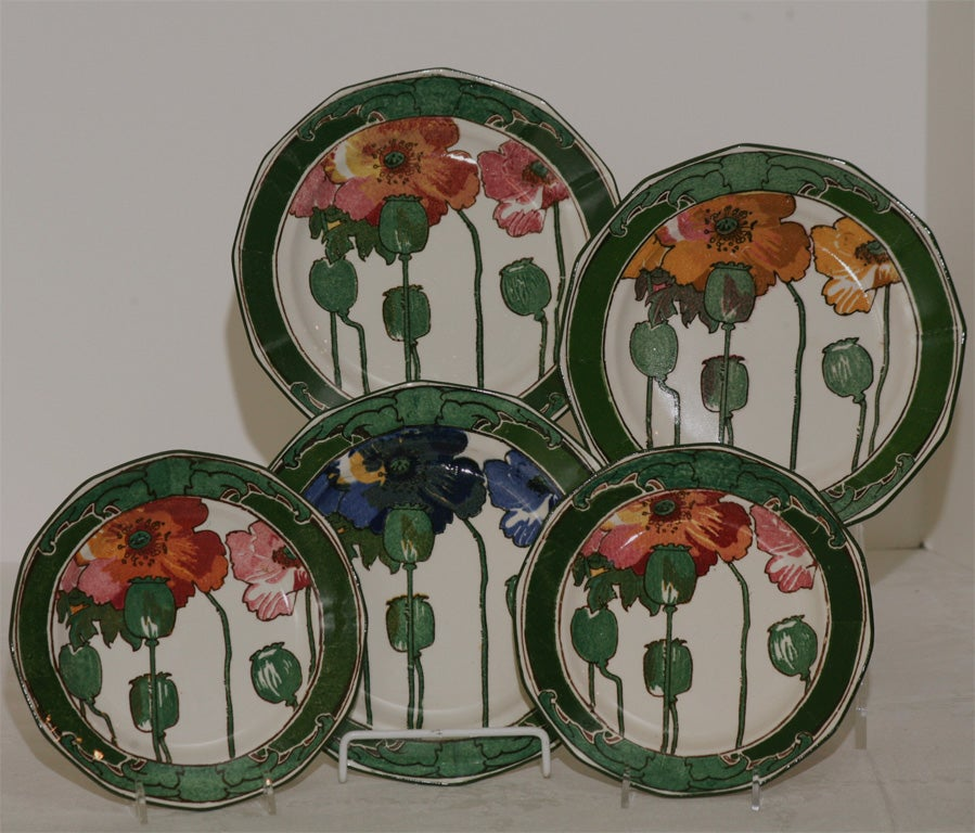 "Royal Doulton Collection of Arts and Crafts ""Poppy"" Plates 4"