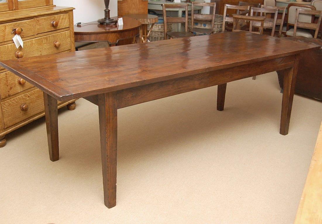 Large 9 foot long english chestnut farm dining table at for Long dining table