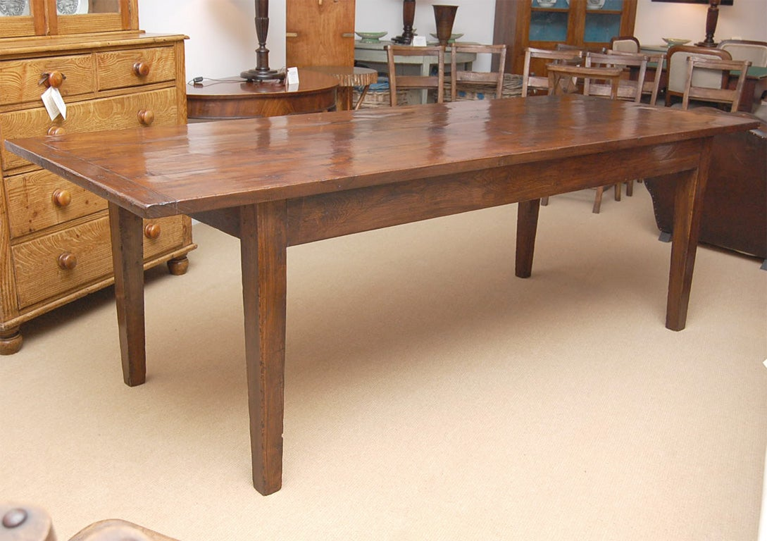 large 9 foot long english chestnut farm dining table at