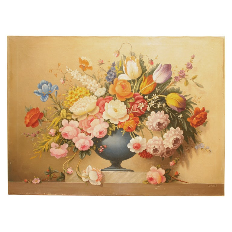 """Urn of Flowers"" Still Life Painting For Sale"