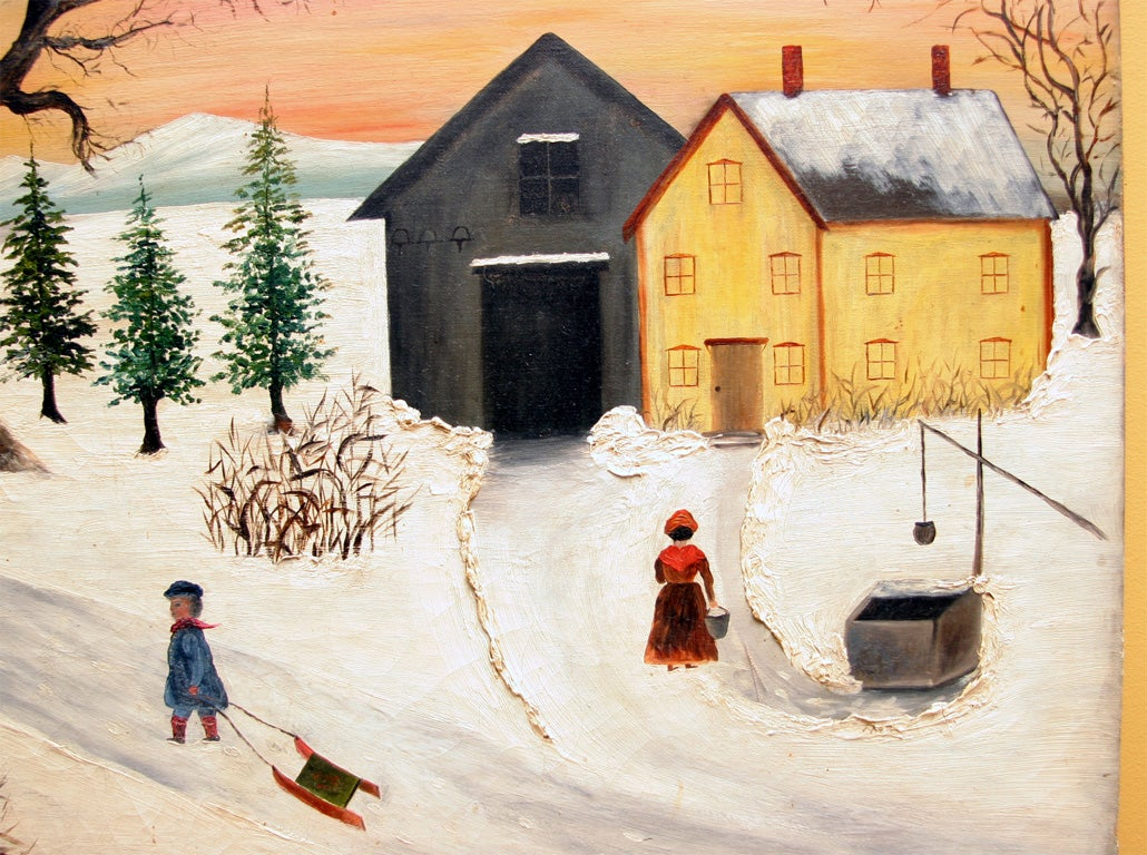 Primitive Painting Quot Winter Scene Quot At 1stdibs
