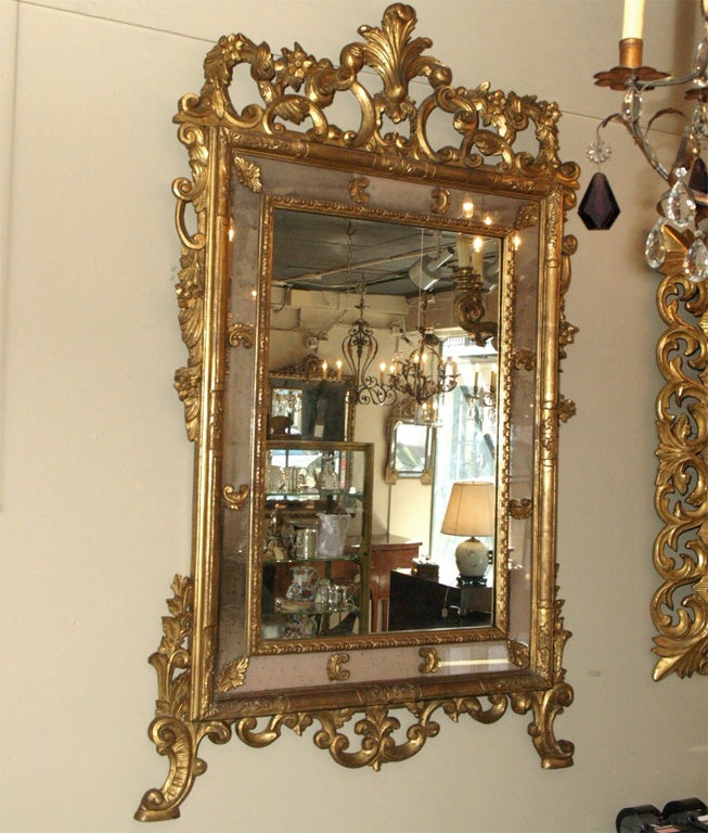 Antique French Gold Leaf Double Border Mirror At 1stdibs