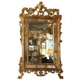 Antique French gold leaf double border mirror.