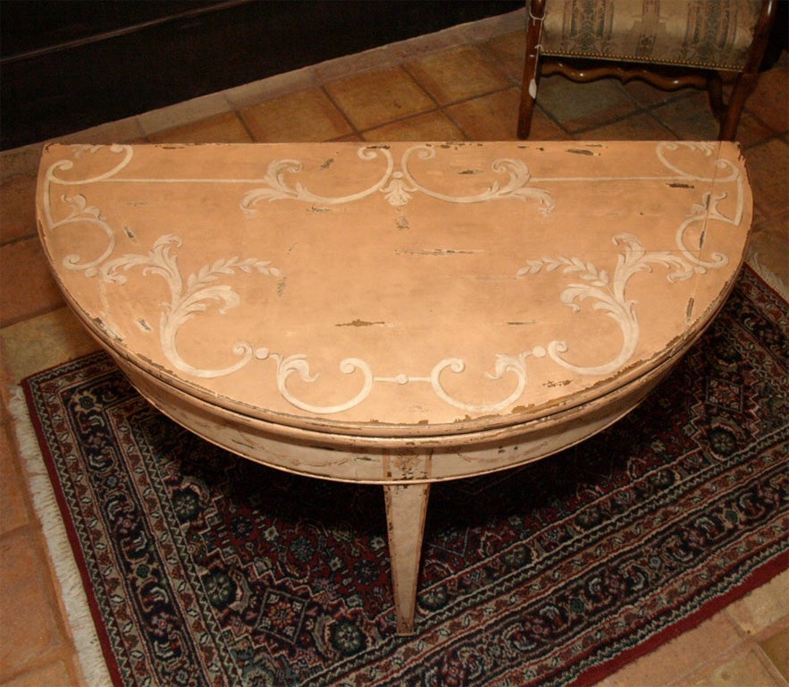 Antique french painted demi lune table at 1stdibs - Table demi lune murale ...