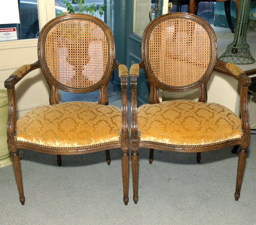 pair louis xvi style walnut fauteuils at 1stdibs. Black Bedroom Furniture Sets. Home Design Ideas