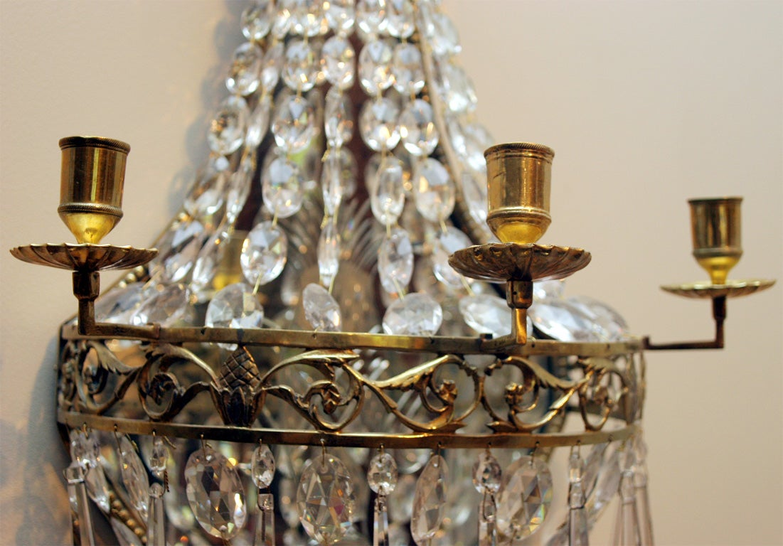 Cut Glass Wall Lights : Pair of Russian neoclassical cut glass wall lights at 1stdibs