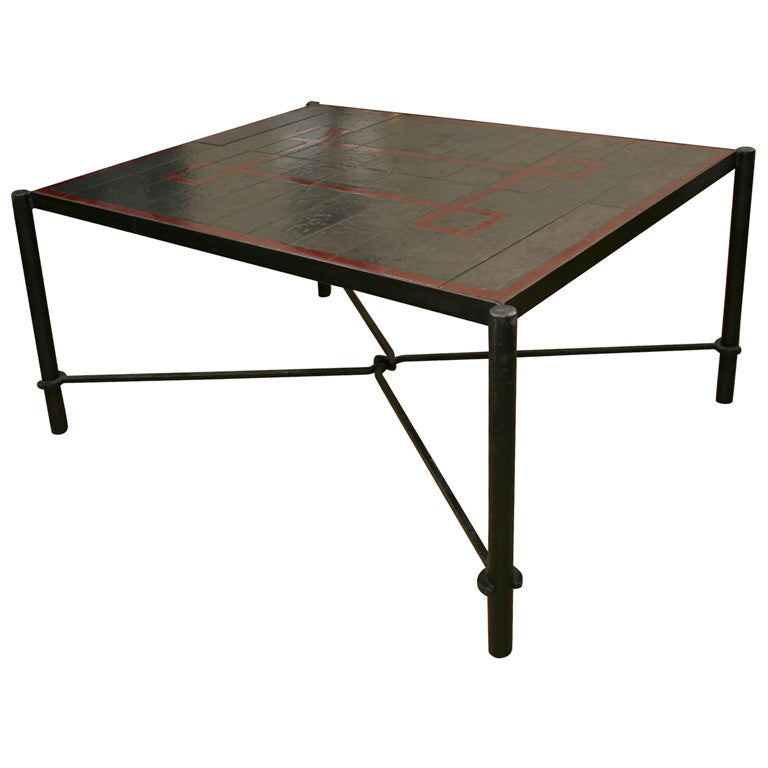 ceramic tile top dining table by jacques adnet at 1stdibs