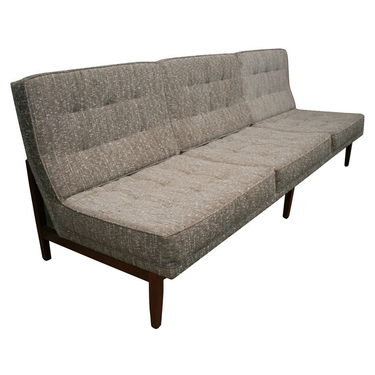 Amazing Florence Knoll Armless 3 Seat Quilted Sofa With Walnut Base 1