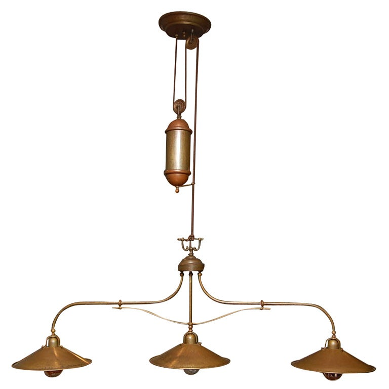 Antique Brass Triple Pendant On Pulley At 1stdibs