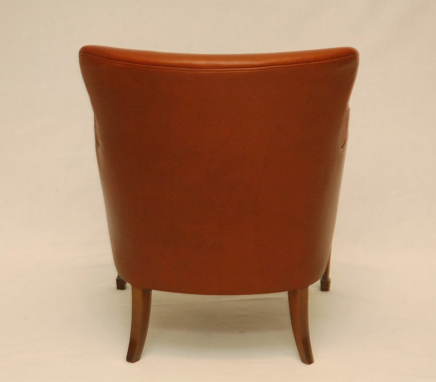 Leather Frits Henningsen Arm Chair For Sale