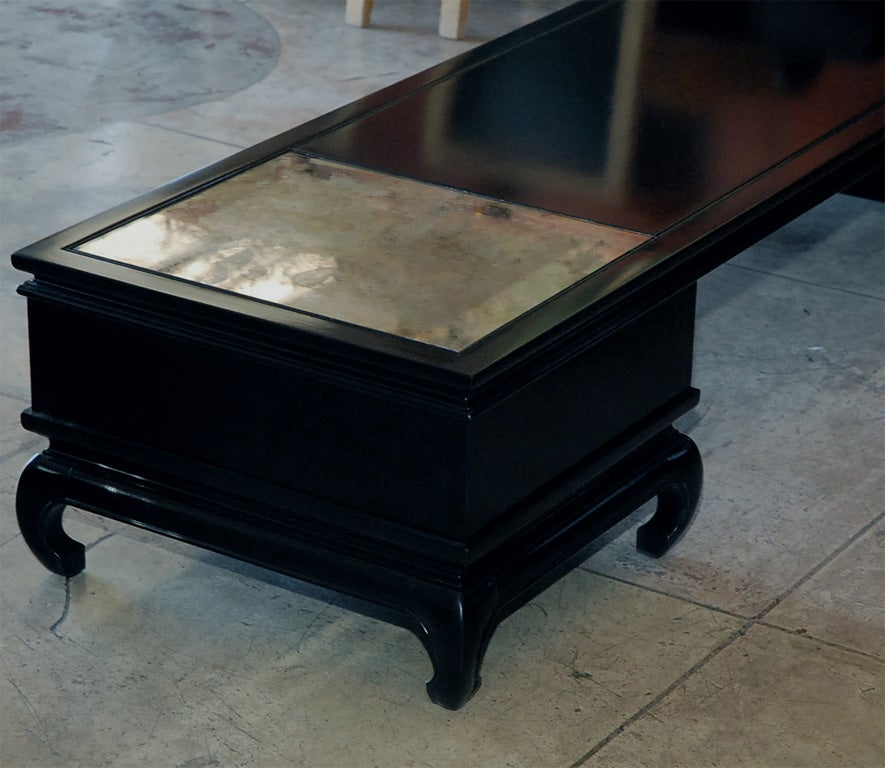 Long And Low Black Lacquer Asian Style Coffee Table At 1stdibs