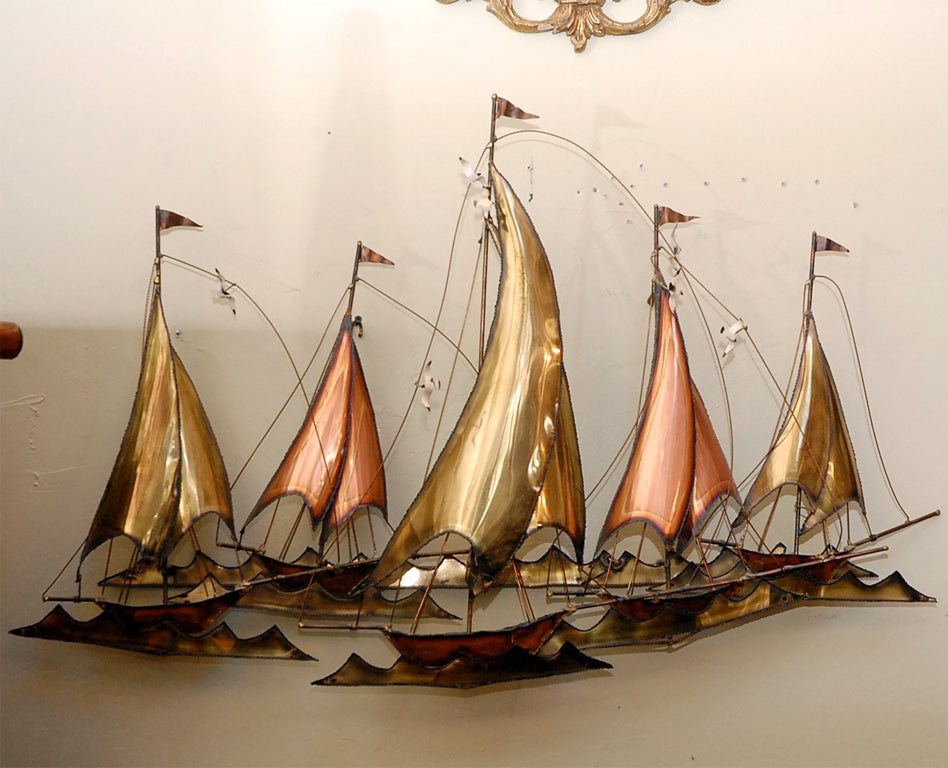 METAL SAILBOATS  WALL SCULPTURE BY CURTIS JERE 2