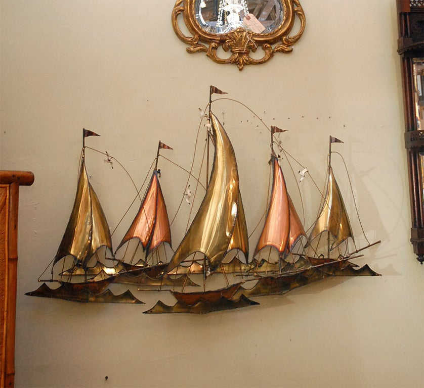 METAL SAILBOATS  WALL SCULPTURE BY CURTIS JERE 3