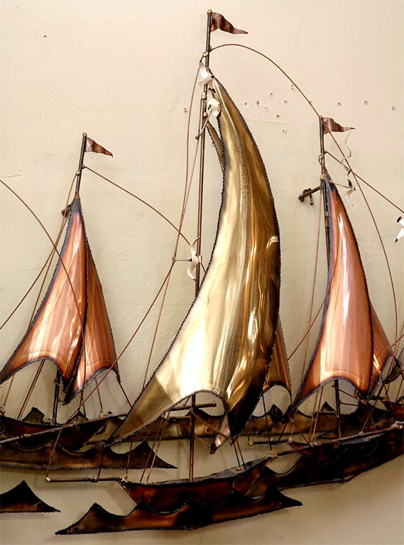 METAL SAILBOATS  WALL SCULPTURE BY CURTIS JERE 4