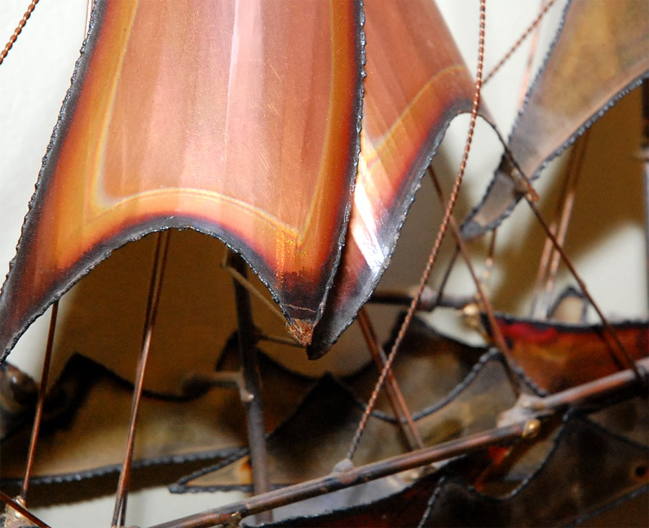 METAL SAILBOATS  WALL SCULPTURE BY CURTIS JERE 7
