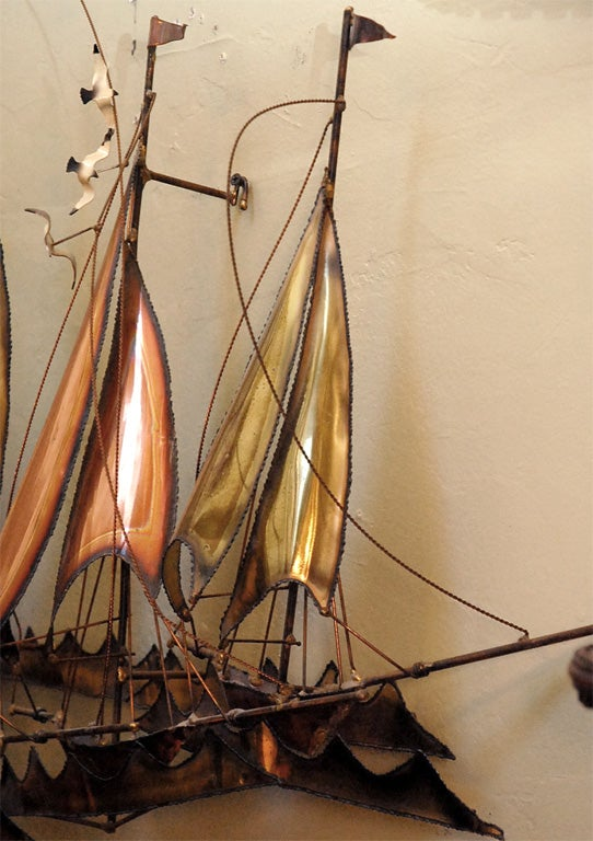 METAL SAILBOATS  WALL SCULPTURE BY CURTIS JERE 8
