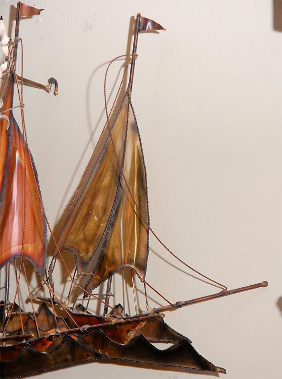 METAL SAILBOATS  WALL SCULPTURE BY CURTIS JERE 9
