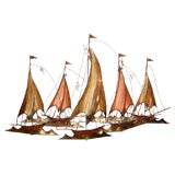 METAL SAILBOATS  WALL SCULPTURE BY CURTIS JERE