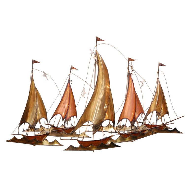 METAL SAILBOATS  WALL SCULPTURE BY CURTIS JERE 1