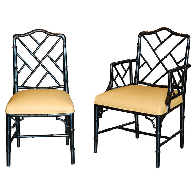 Set Of Six Vintage Faux Bamboo Chippendale Style Chairs At