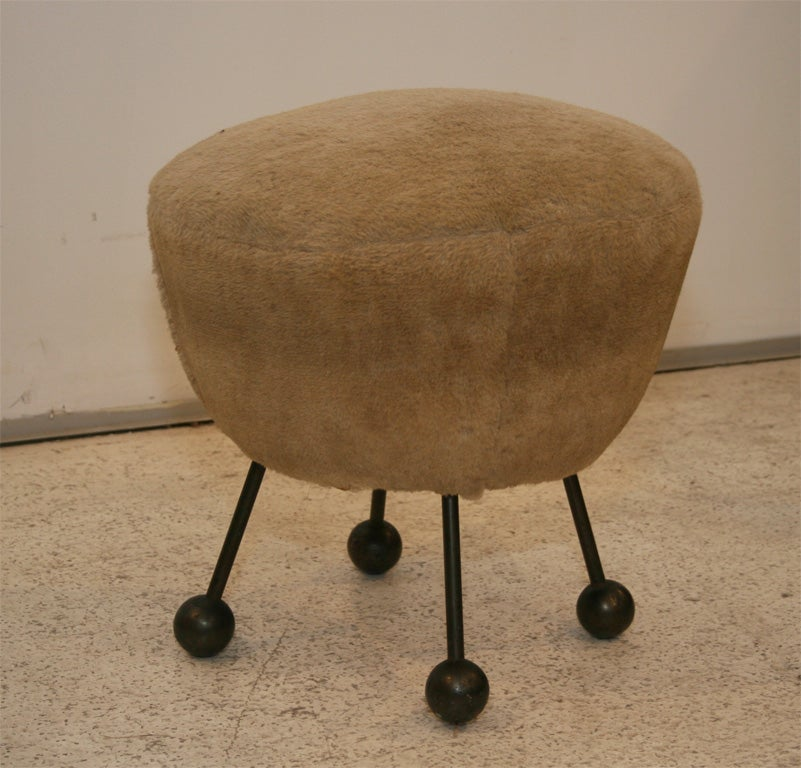 Rare French Stool Attributed To Jean Royere At 1stdibs