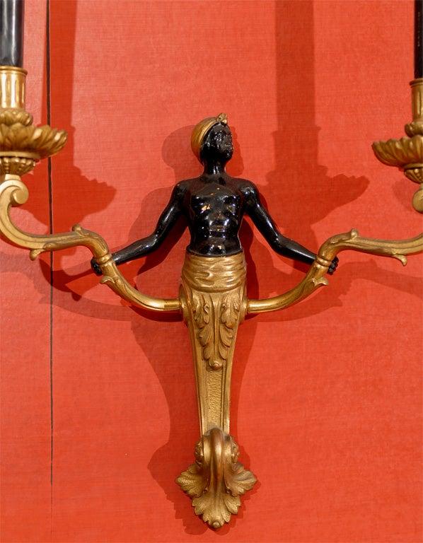 Blackamoor Wall Sconces : Pair of Blackamoor Sconces in Bronze, Black and Gilt Patina at 1stdibs