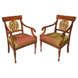 Set of Four Mid 19th Century Russian Mahogany Armchairs