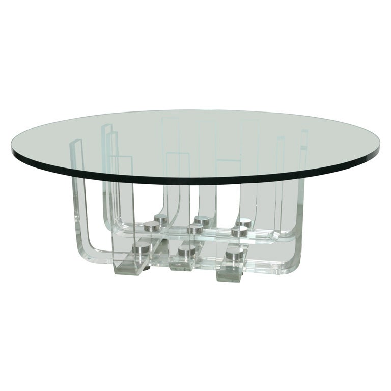 Lucite Coffee Table With Round Glass Top At 1stdibs