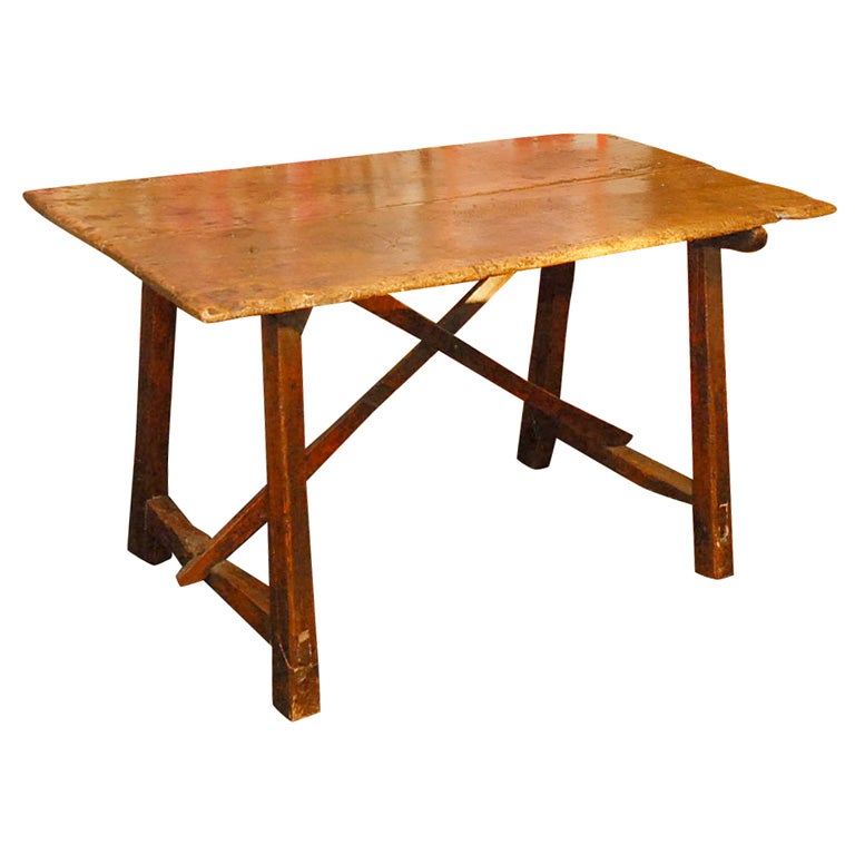A Rustic Italian Table In Walnut At 1stdibs