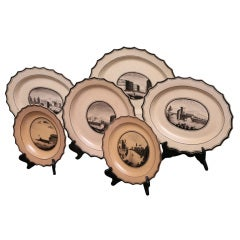 Set of Six  Neoclassical Neapolitan Plates