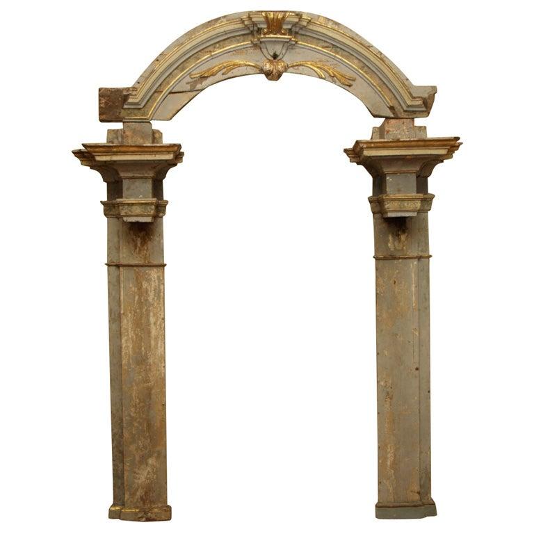 Large Arched Polychrome Door Frame