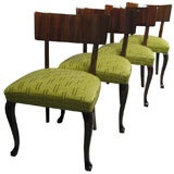 Set of Six Swedish Birch and Rosewood Art Moderne Dining Chairs