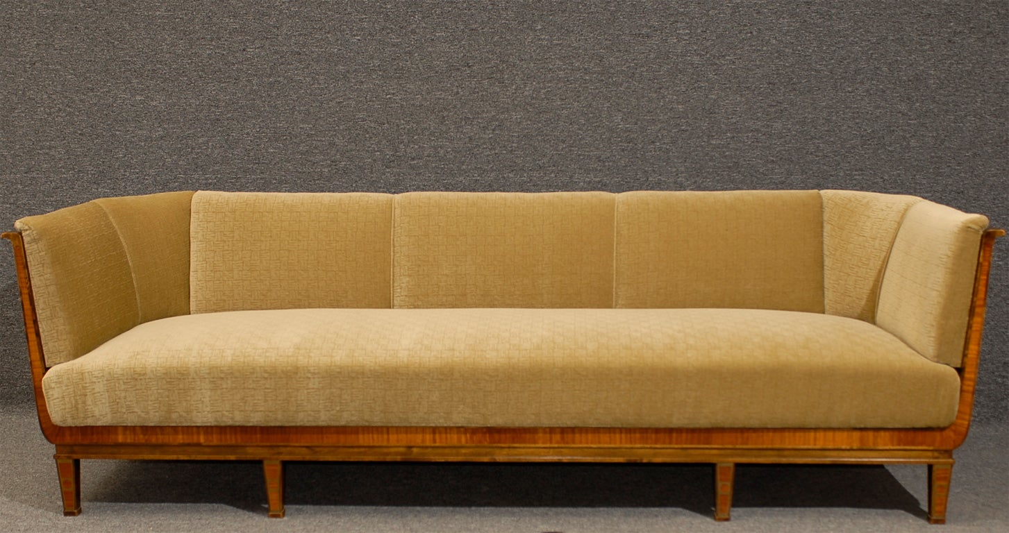 swedish art deco birch and satinwood sofa in donghia wool mohair at 1stdibs. Black Bedroom Furniture Sets. Home Design Ideas