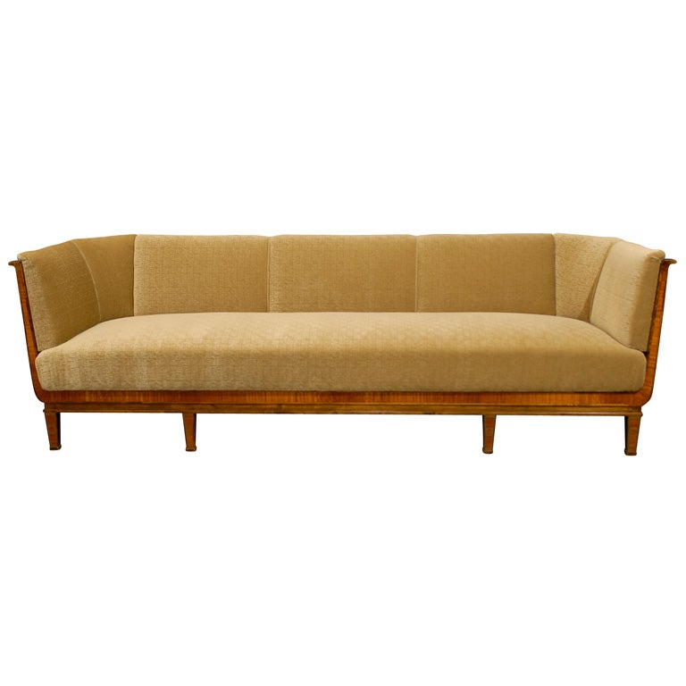 Swedish Art Deco Birch And Satinwood Sofa In Donghia Wool Mohair At