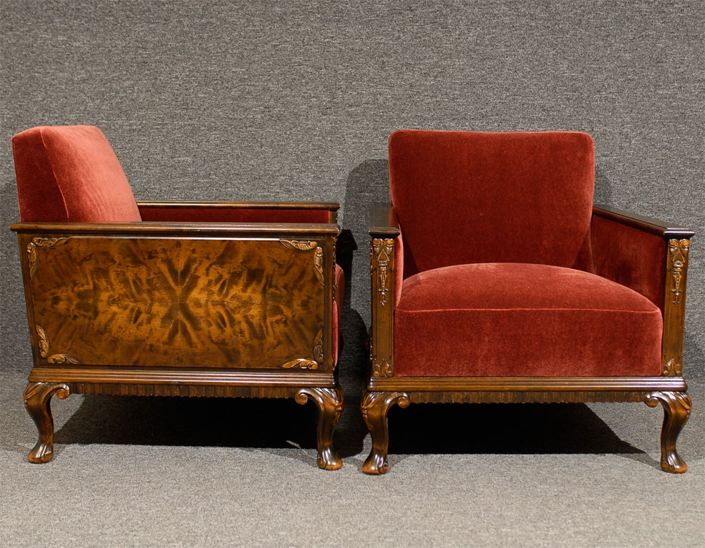 Pair of Swedish Art Deco Neoclassical Flame Birch Club Chairs 5